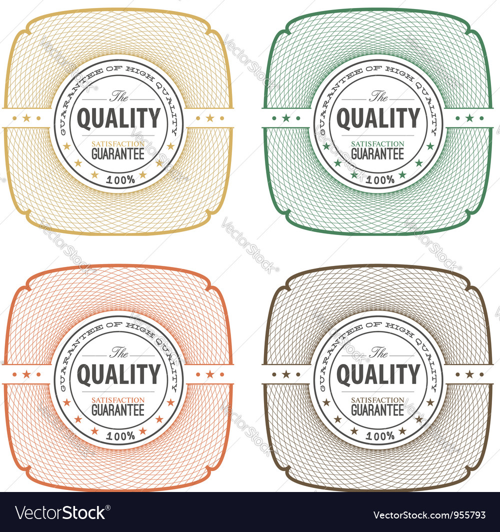 Decorative emblems of quality vector image
