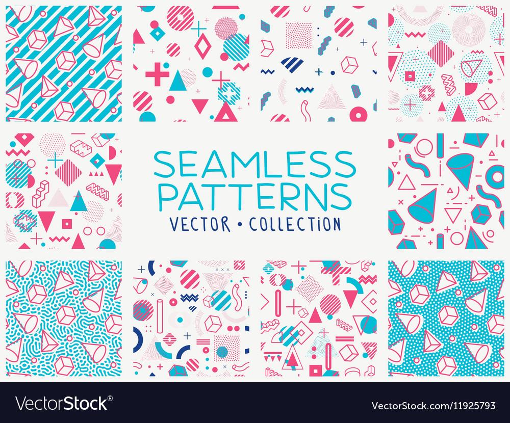 Geometric memphis seamless isolated patterns