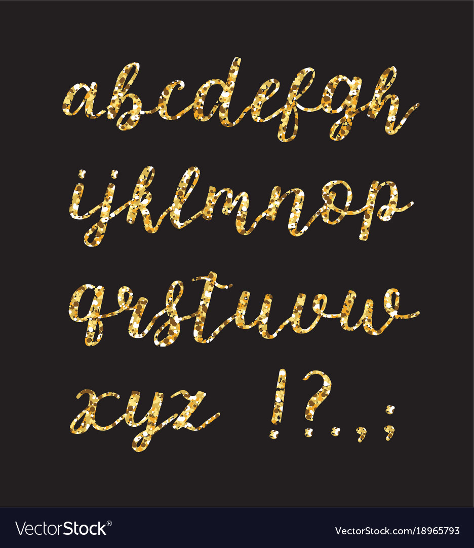 Golden glitter alphabet brush glowing font