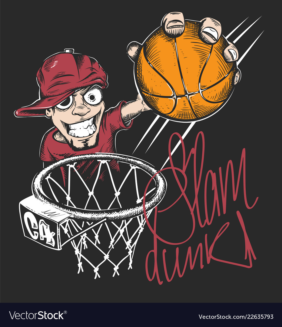 Mad basketball slam dunk t-shirt print design