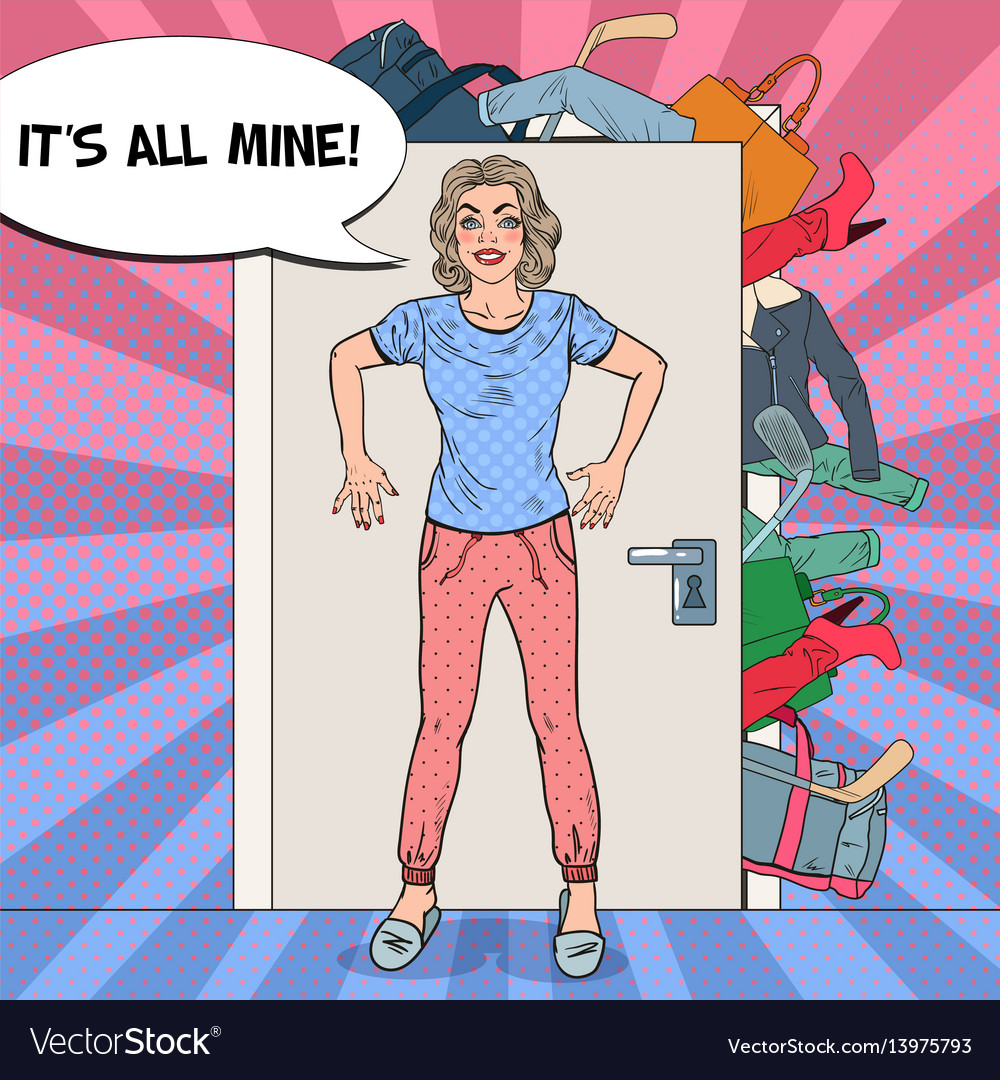 Pop art woman holding the door with of clothes vector image