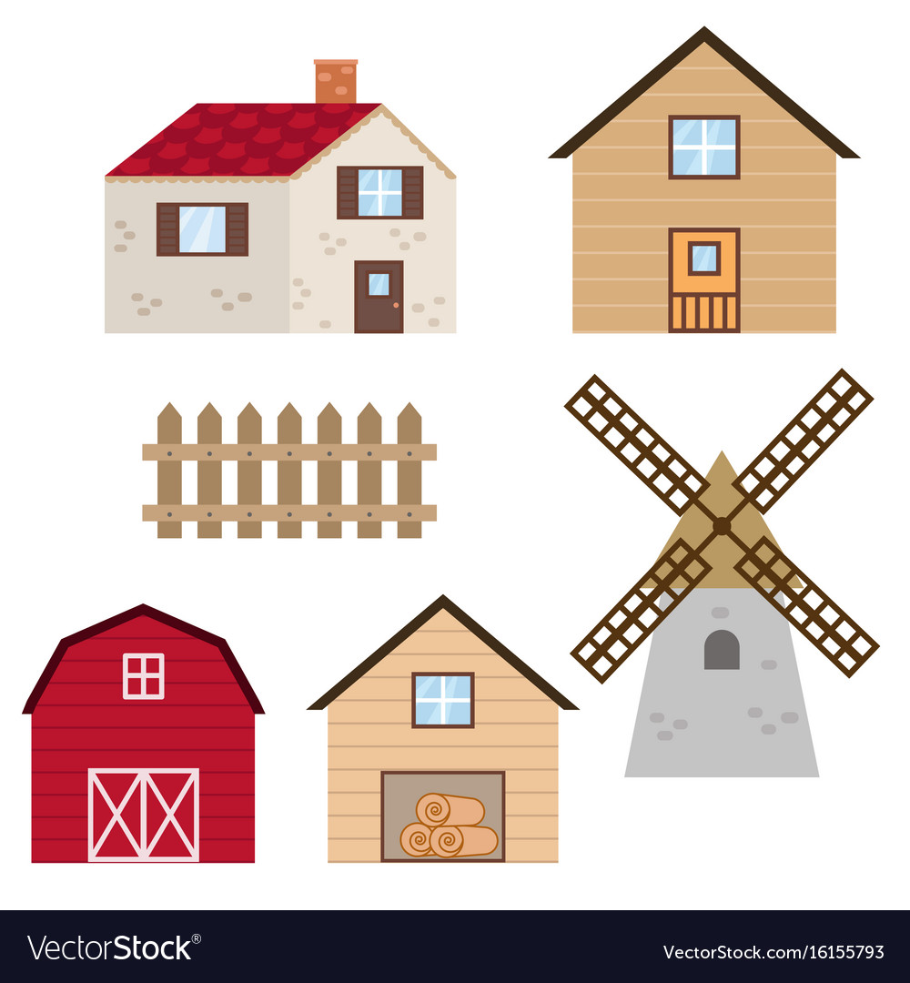 Set of farm buildings and constructions set of