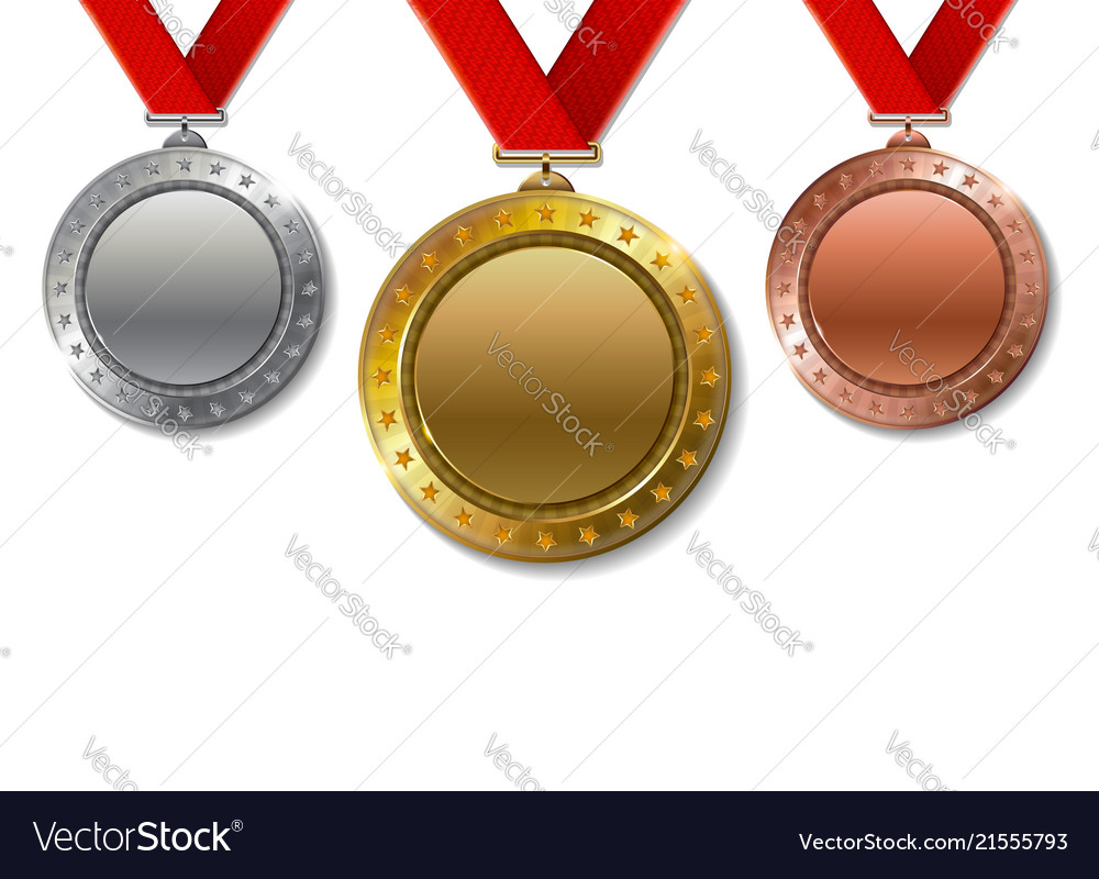 Set of realistic 3d champion gold silver and