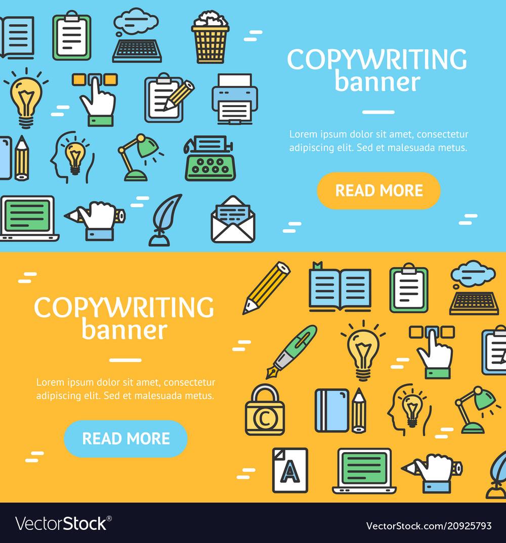 Writer and copywriting signs banner horizontal set