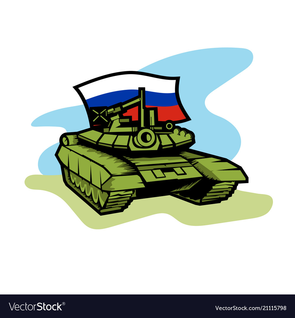 An russian tank with flag
