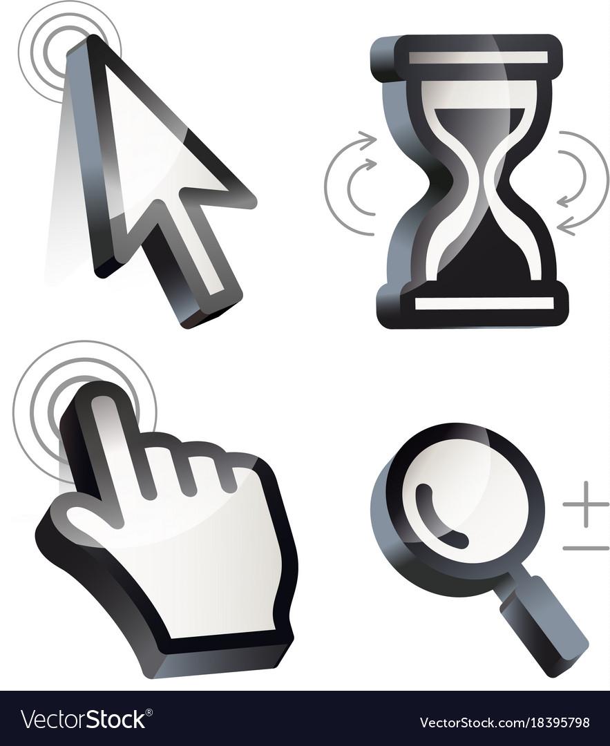 Cursor hand arrow hourglass magnifying
