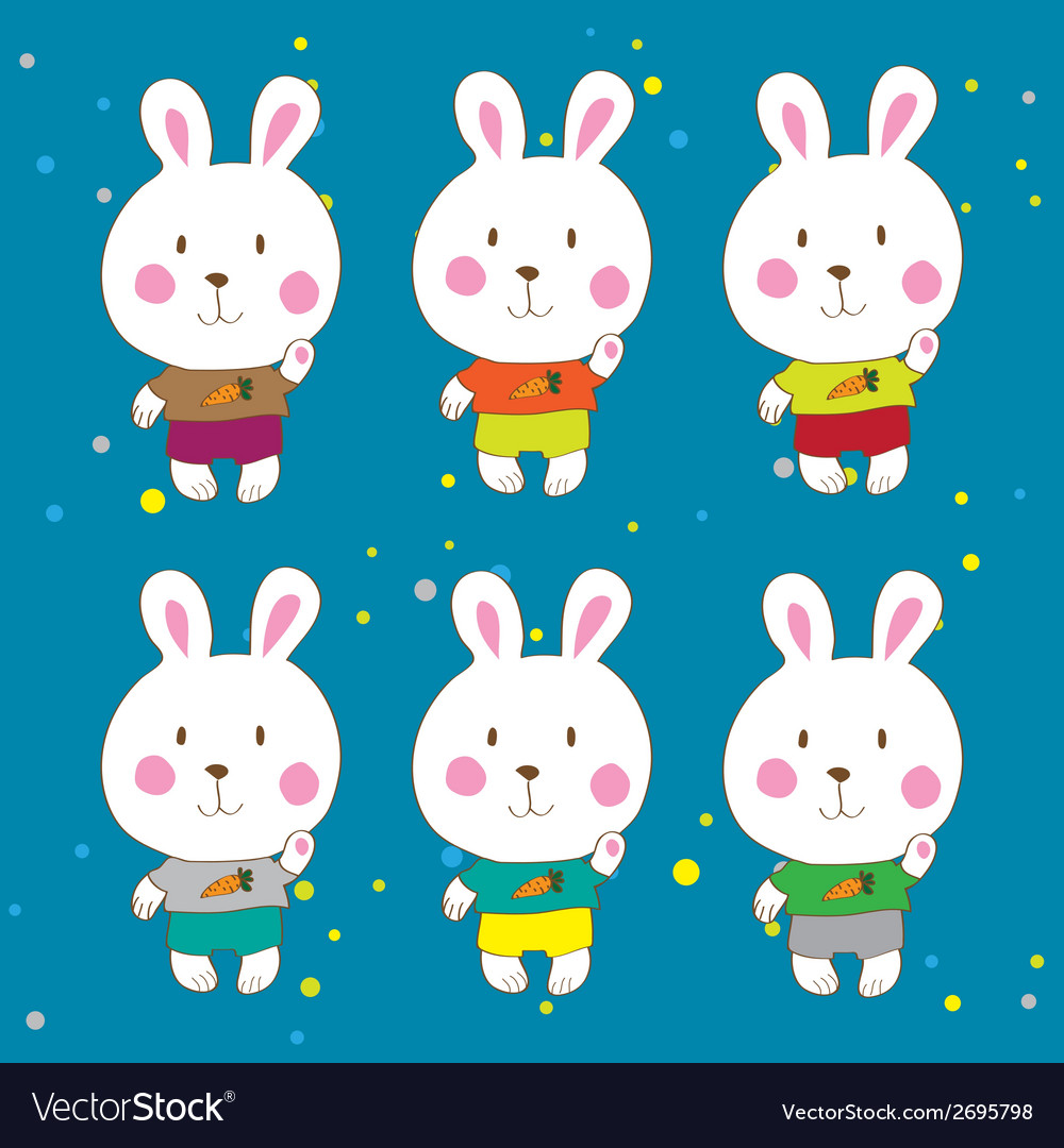Funny bunnies on a white background characters