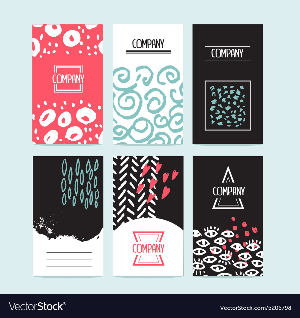 Hand drawn 6 cards with trendy textures and