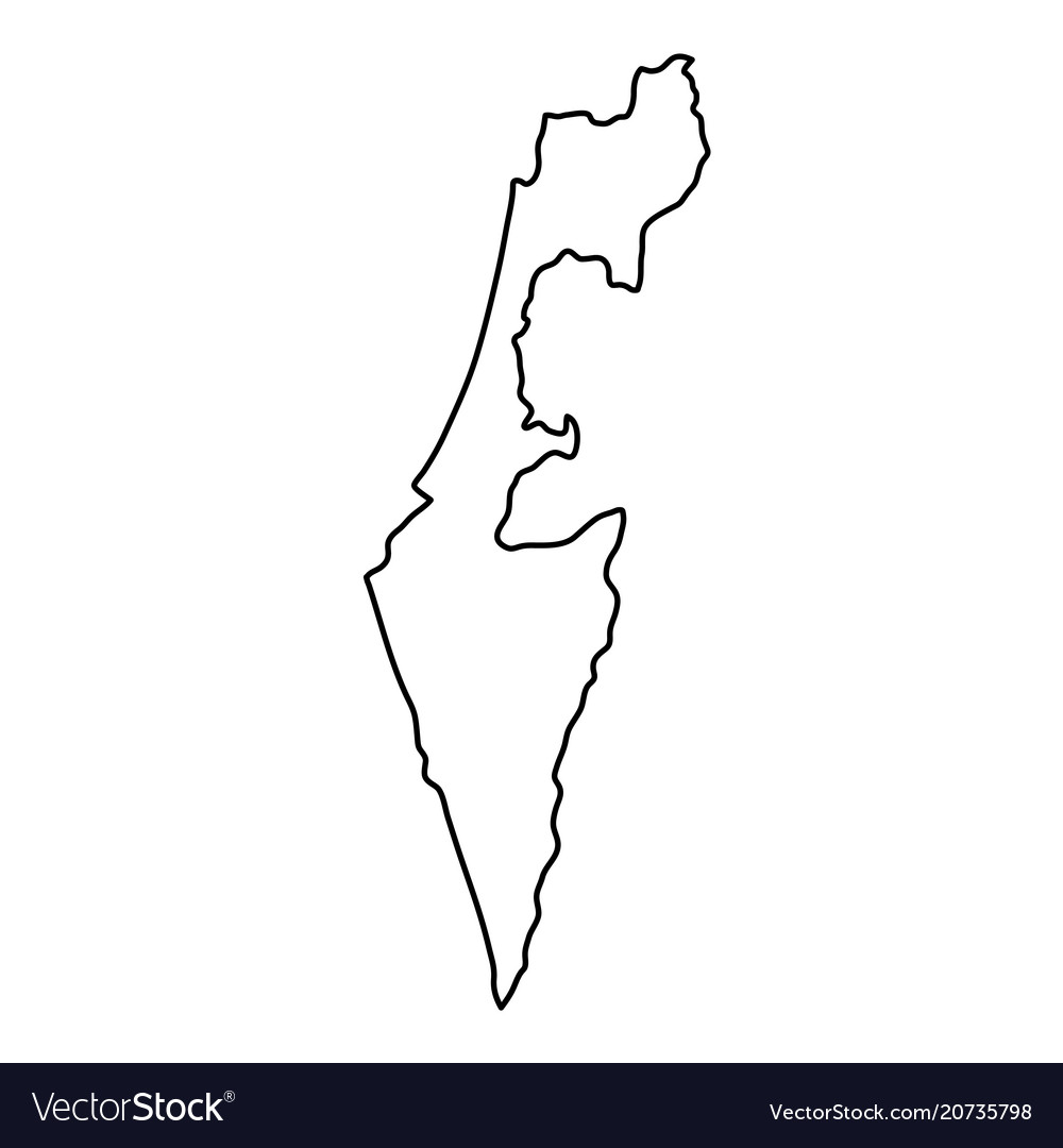 Israel map of black contour curves of