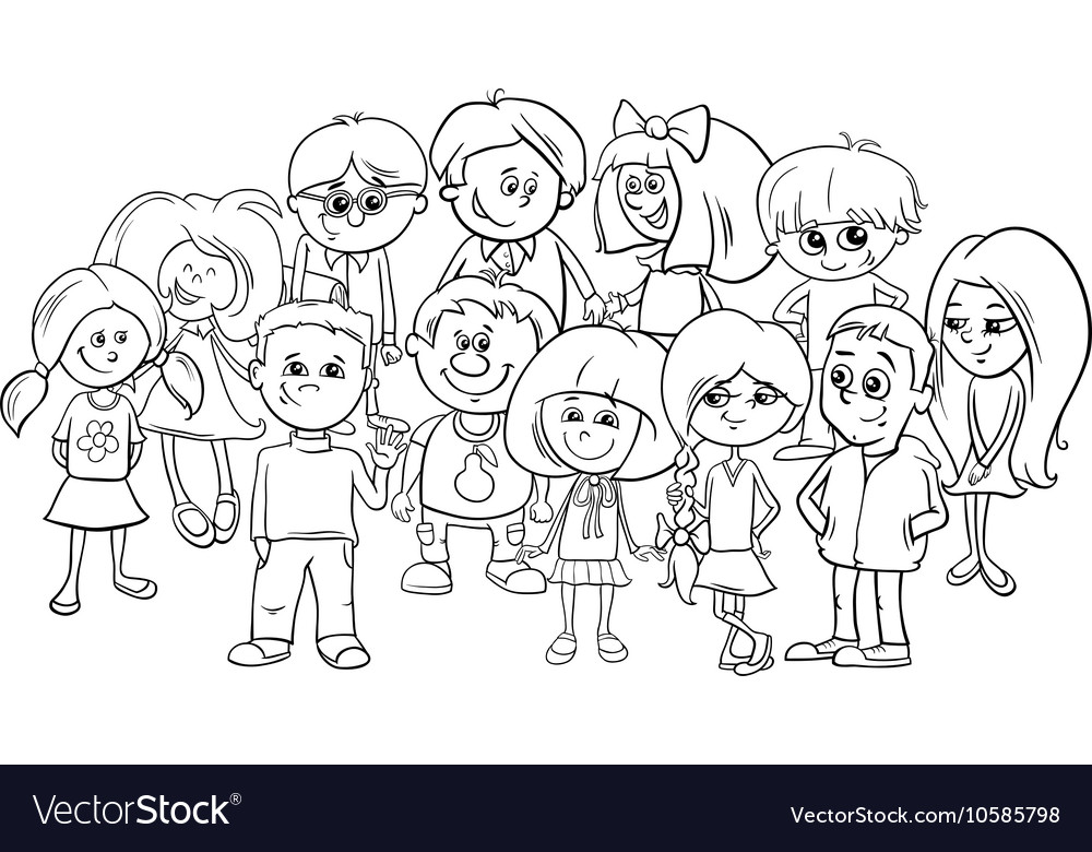 School Kids Coloring Page Royalty Free Vector Image