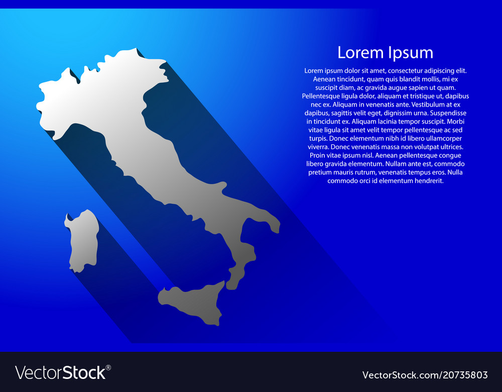 Abstract map of italy with long shadow on blue
