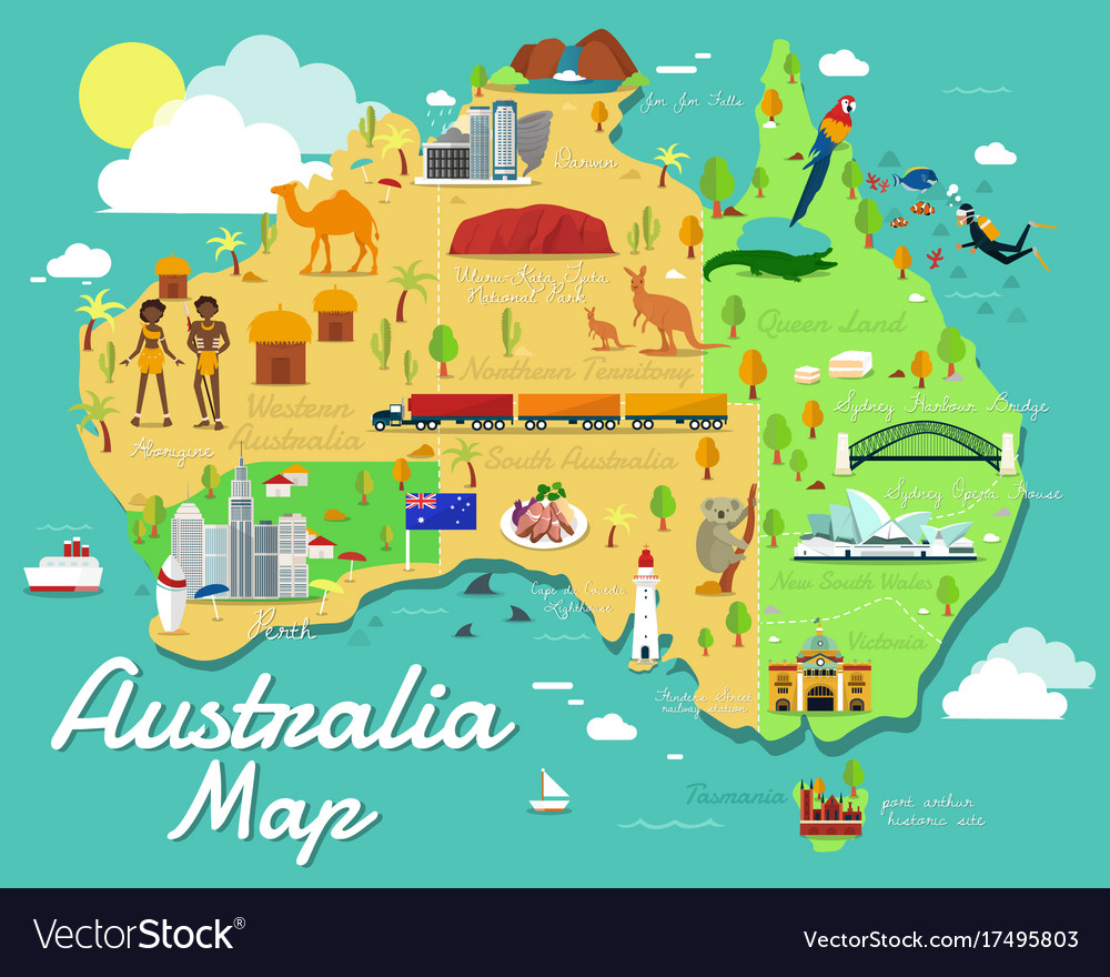 Australia Map Landmarks.Australia Map With Colorful Landmarks Design