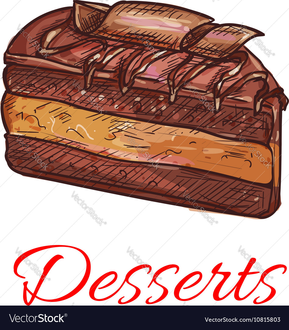 Chocolate cupcake sketch icon Patisserie emblem vector image
