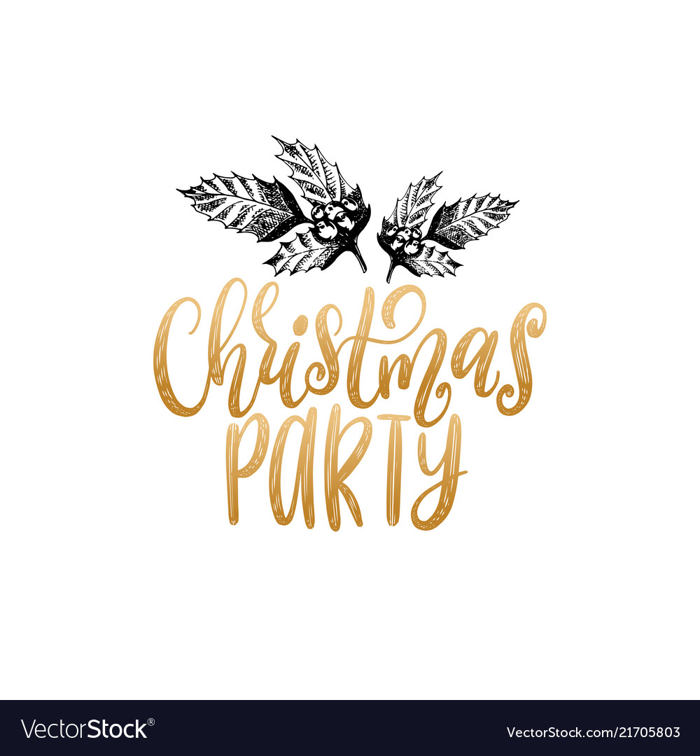 Christmas party lettering with hand drawn