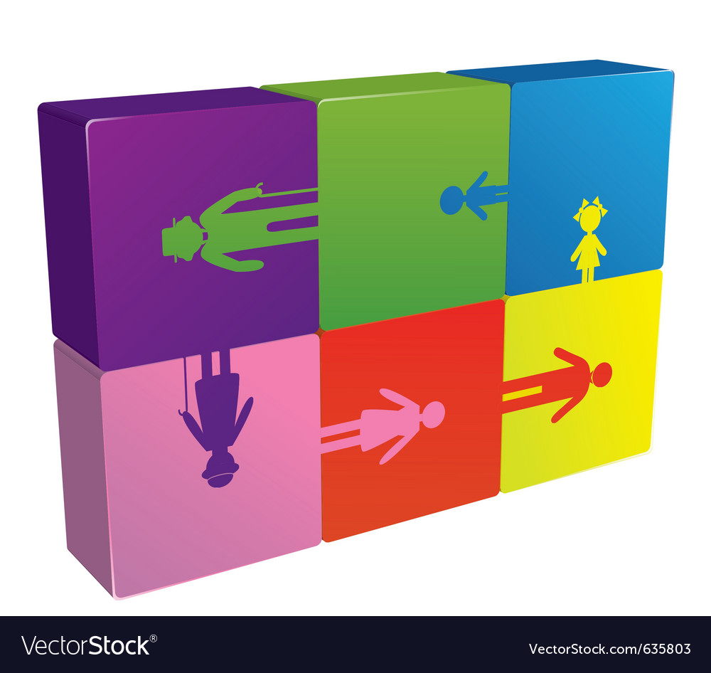 Family puzzle logo vector image