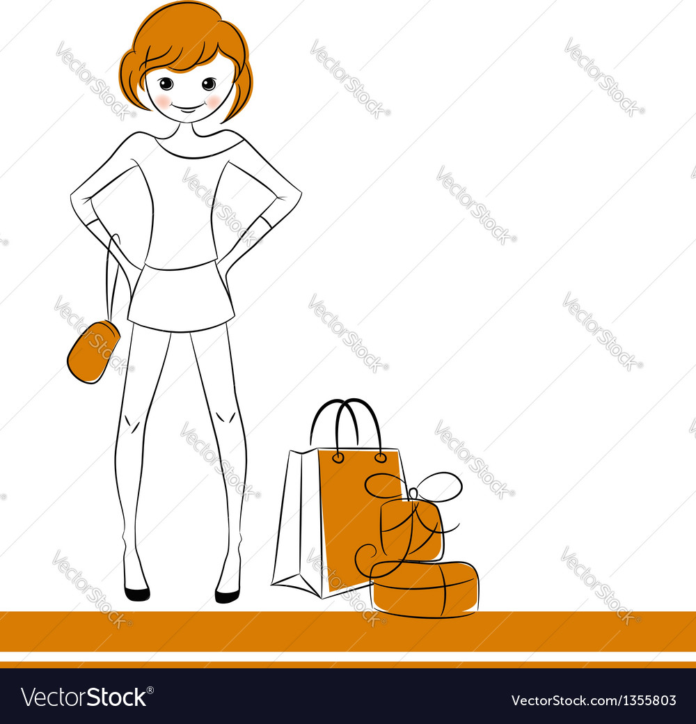 Fashion girl with sale bag