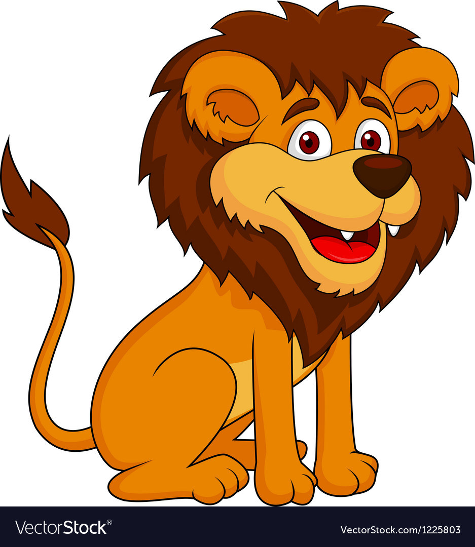 Funny lion cartoon sitting Royalty Free Vector Image