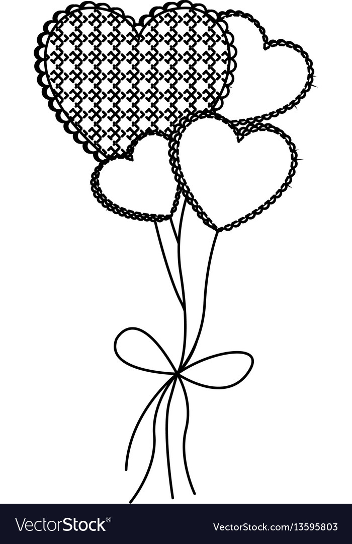 Grayscale figure hearts balloons icon