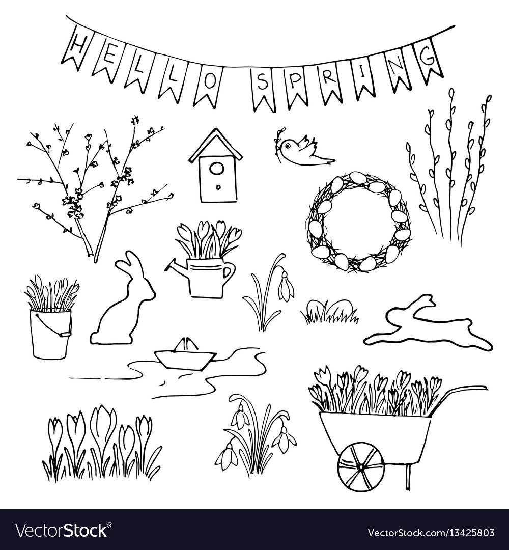 Hello spring sketch set first flowers gardening