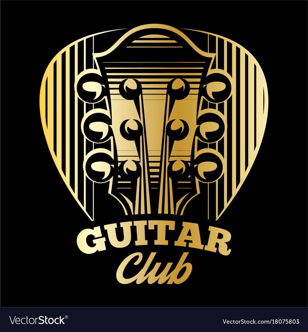 Logo template plectrum and guitar