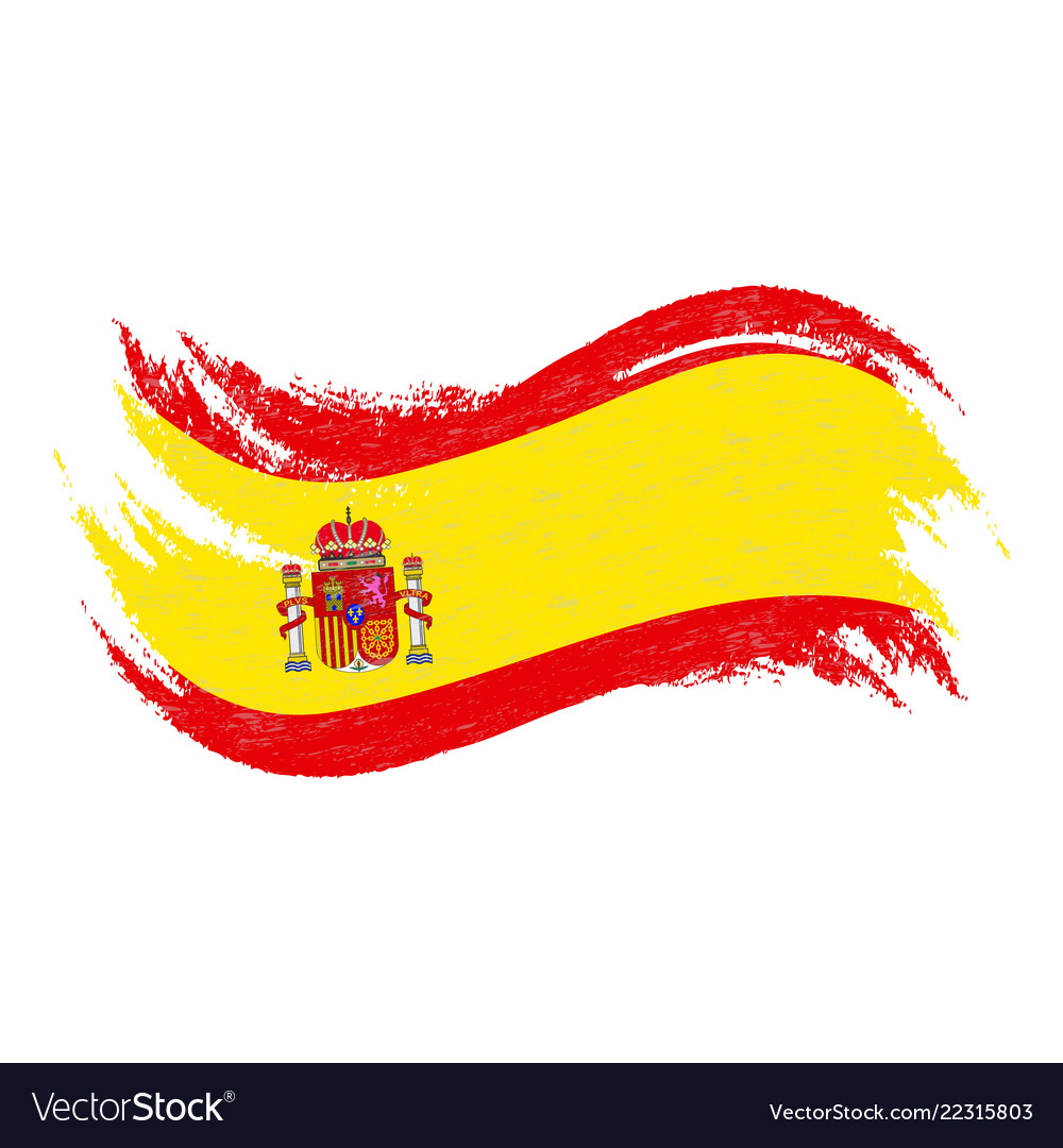 National flag of spain designed using brush Vector Image