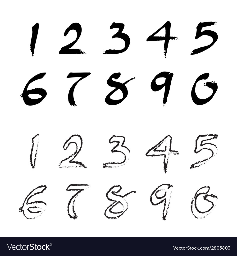 Numbers 0 9 Written With A Brush Vector Image