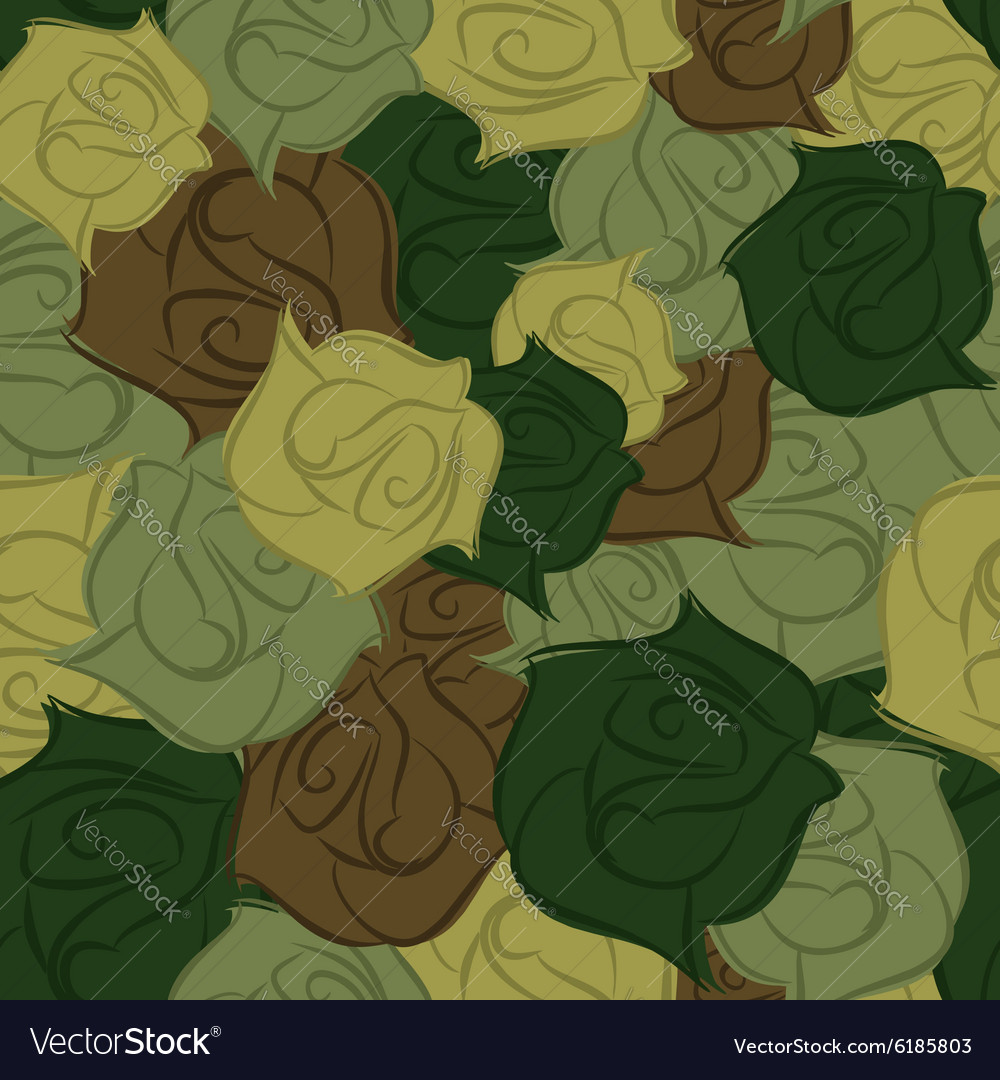Rose army seamless pattern Military texture of vector image