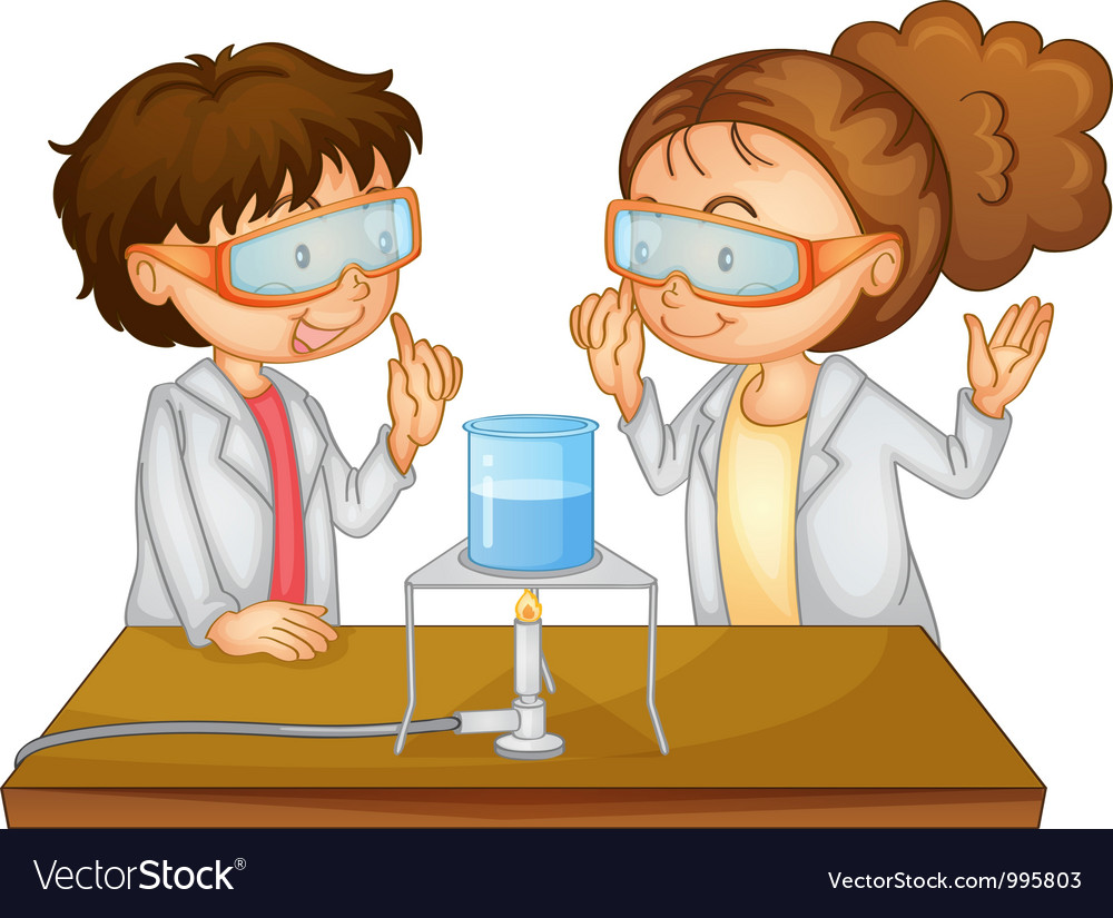 Scientists executing experiment vector image