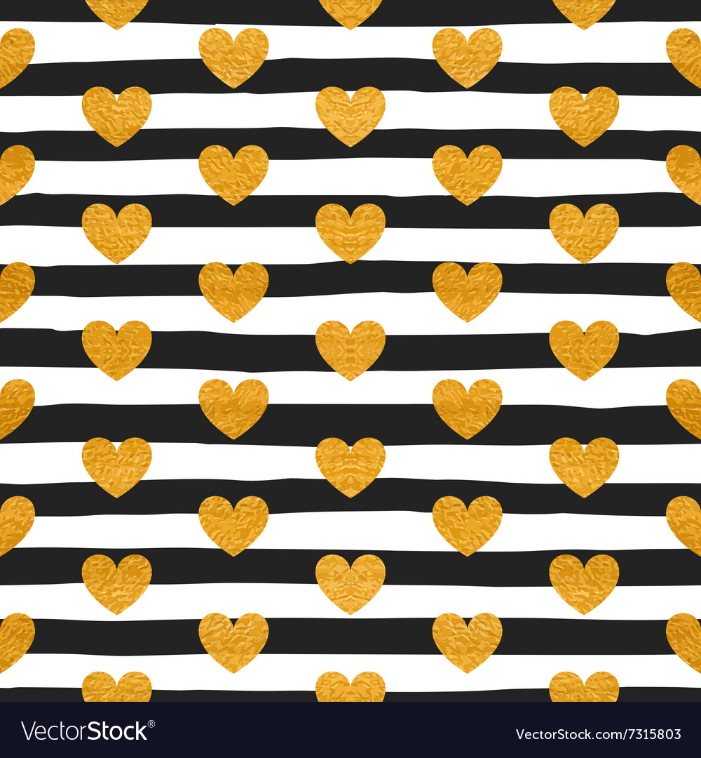 Seamless pattern of gold hearts