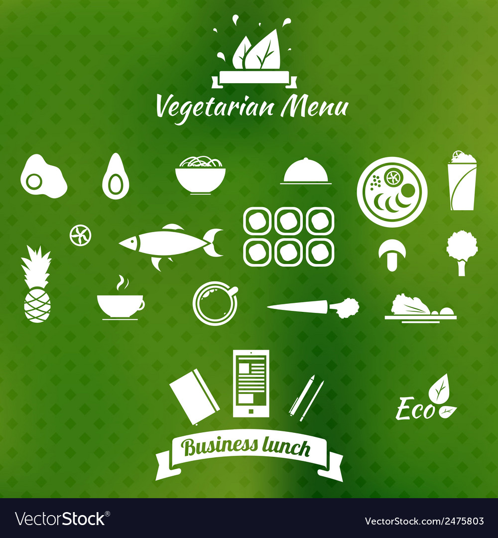 Vegetarian menu icons on blurred background vector image