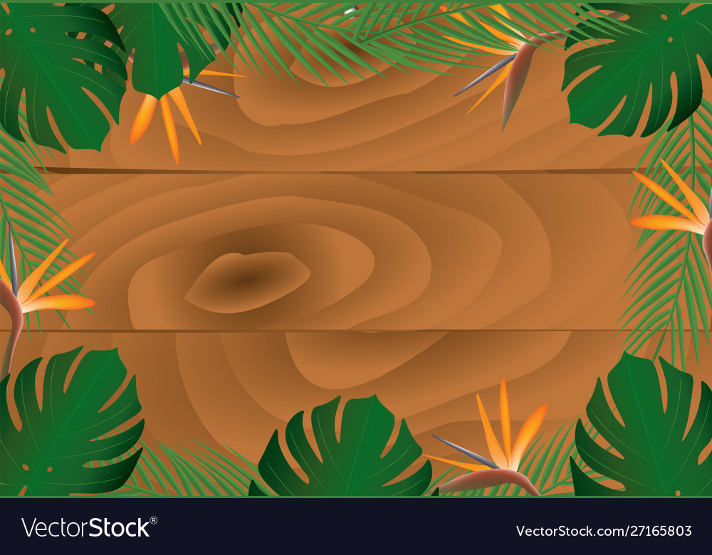 Wooden banner with tropical leafs
