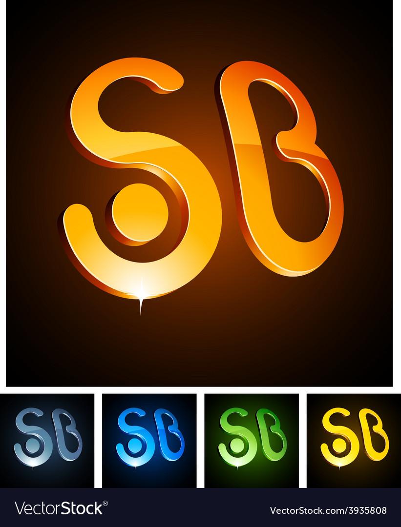 3d SB emblems vector image