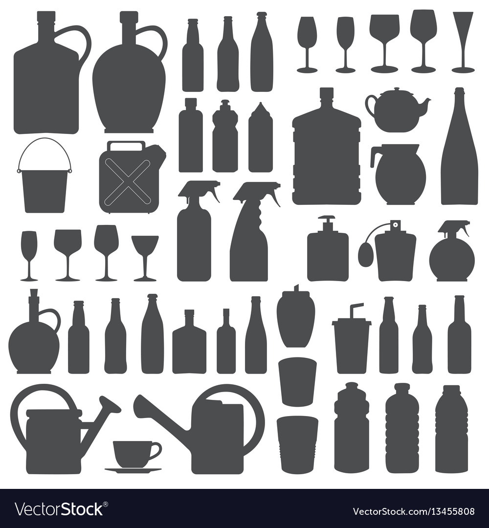 Beverage bottle and glass icons silhouettes vect