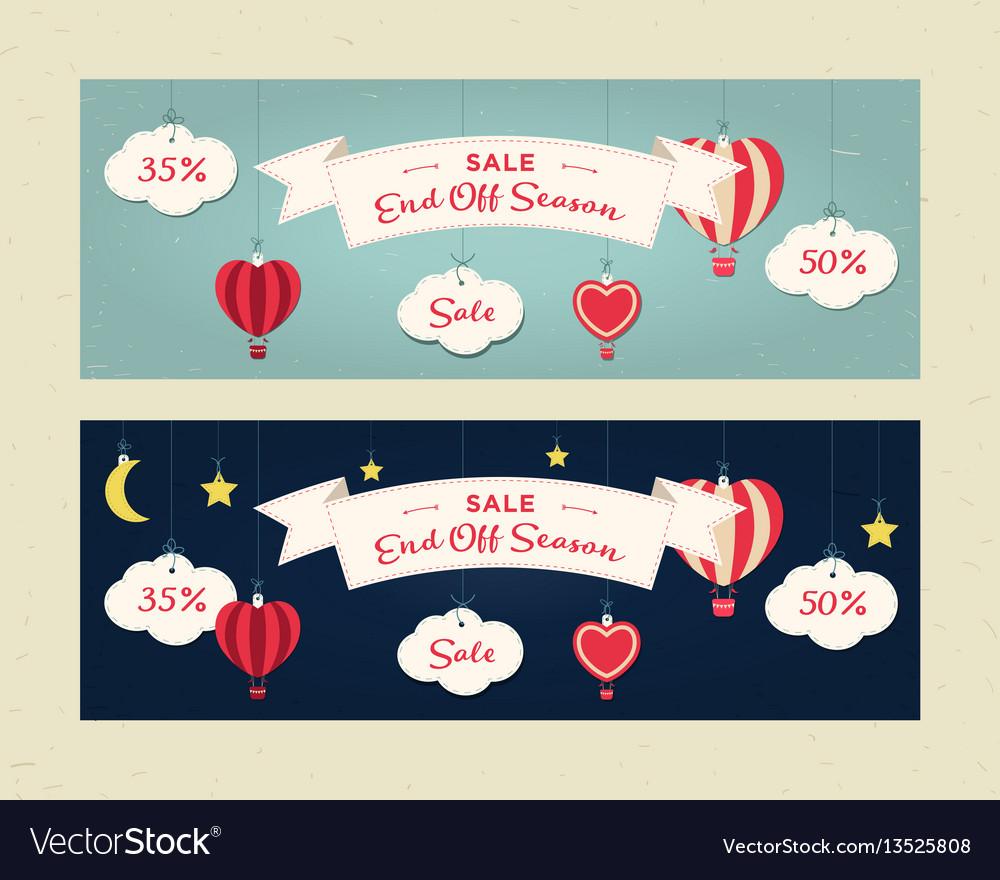 End of season sale website header or banner set vector image