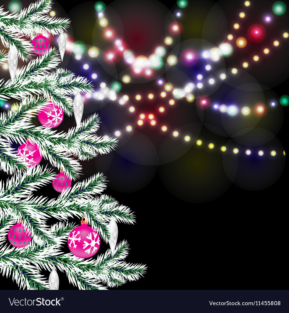 fancy christmas tree bright festive lights vector image - Fancy Christmas Tree