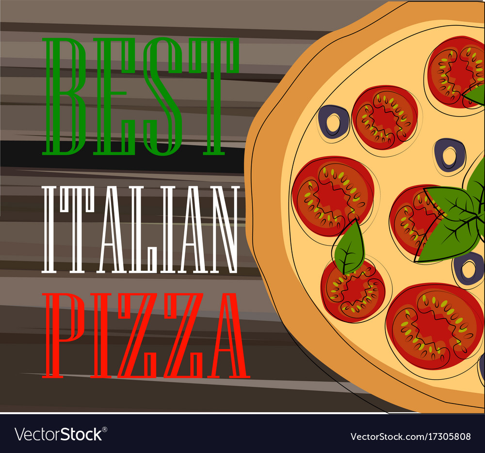 Pizza food menu for restaurant and cafe vector image