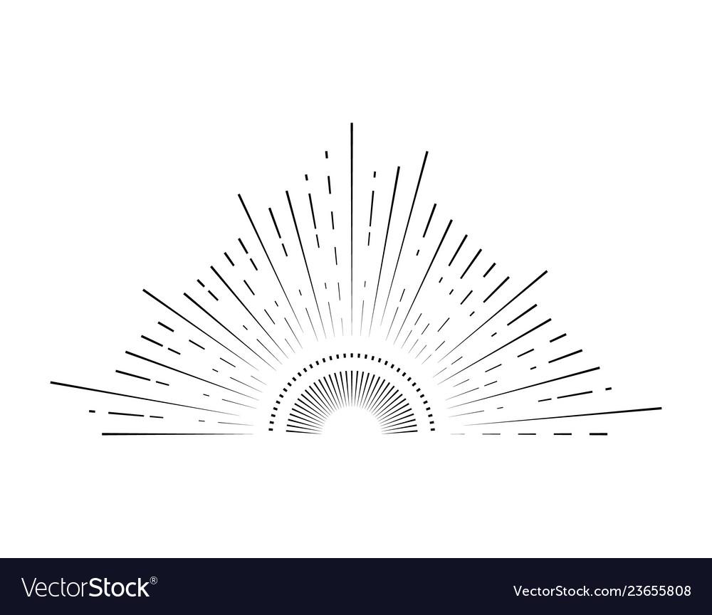 Retro sunburst sign black thin line
