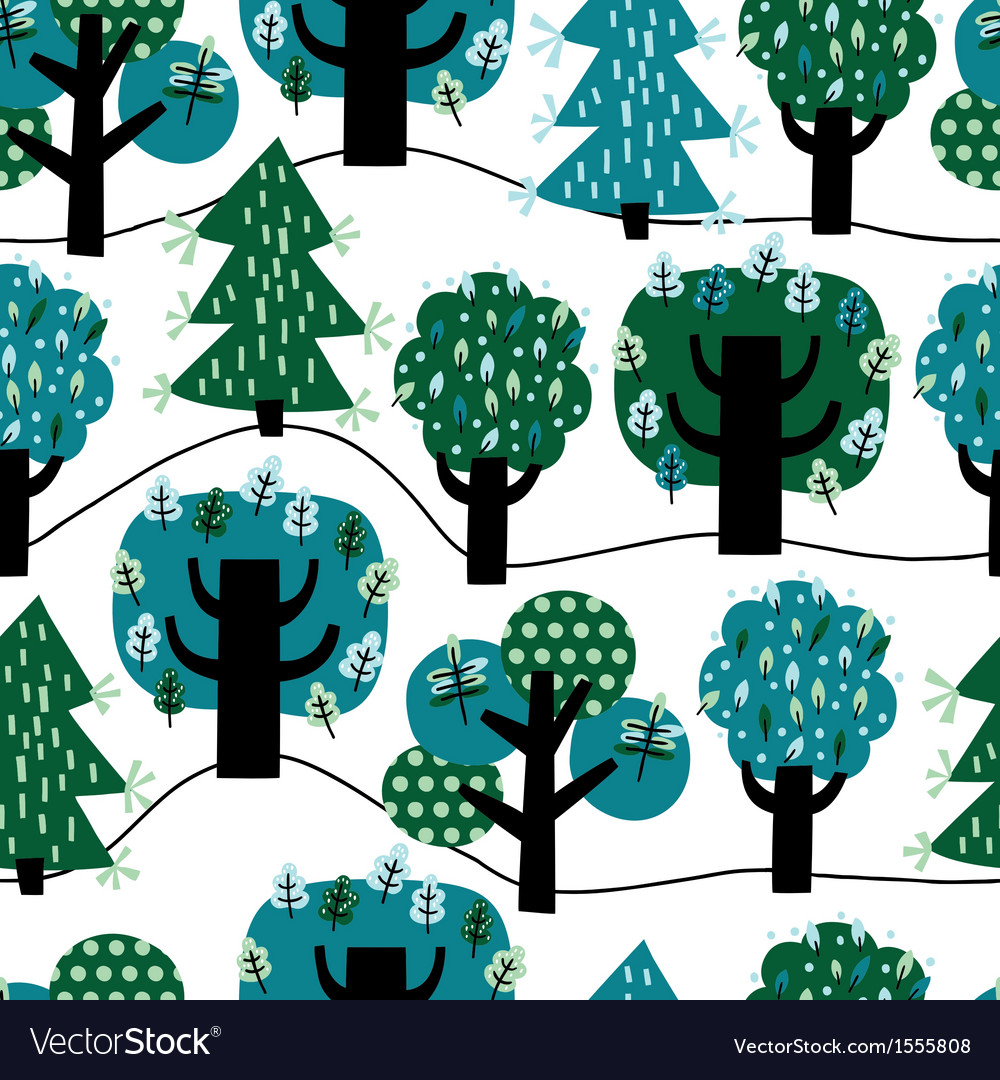 Seamless pattern with colorful trees Royalty Free Vector