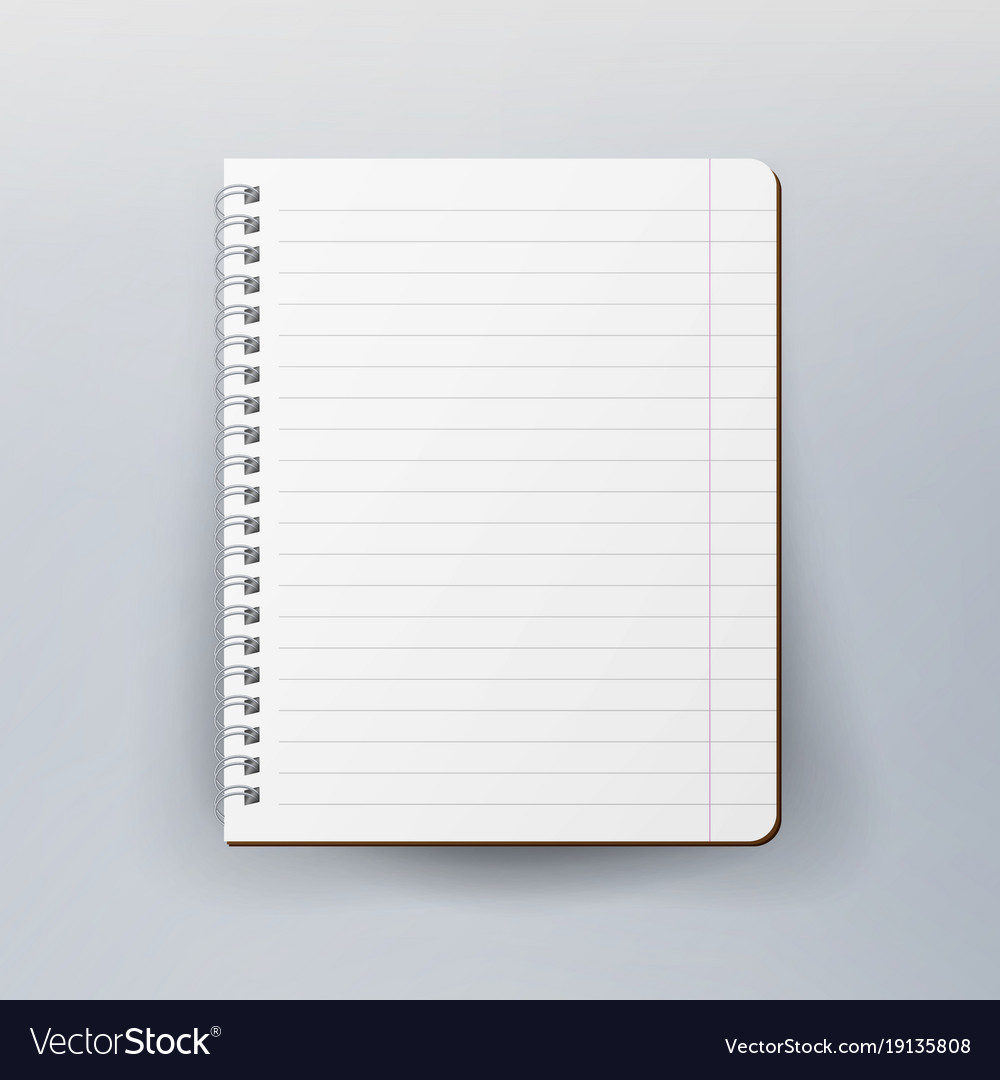 spiral empty notepad blank mockup template for vector image