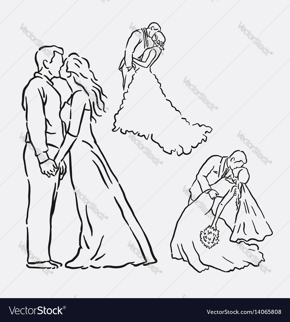 Wedding romantic couple sketches vector image
