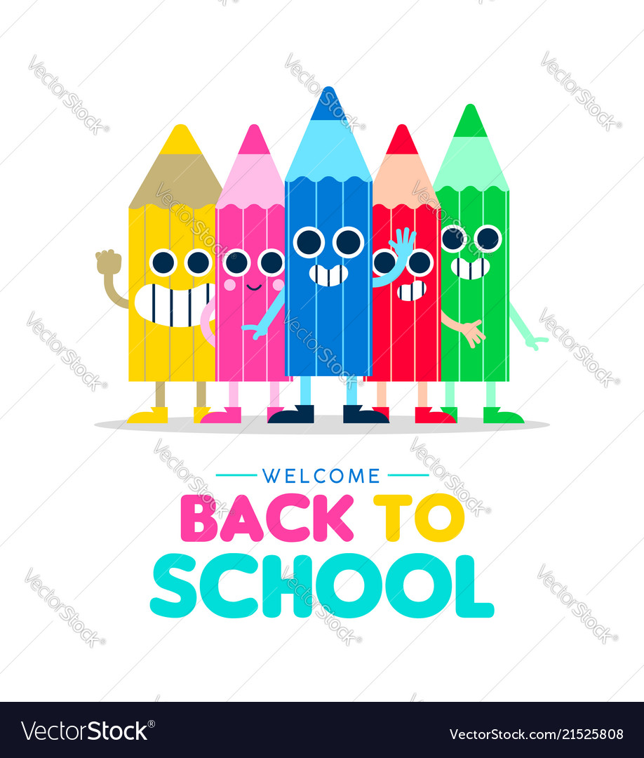 Welcome back to school cartoon pencil friends