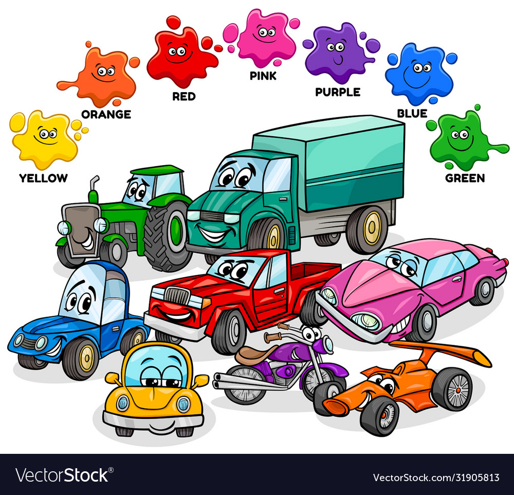 Basic Colors With Cars And Transport Characters Vector Image