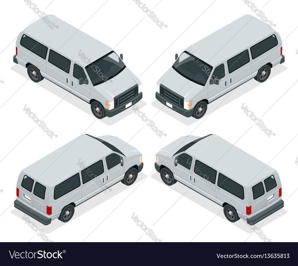 Commercial van icons set isolated on a white