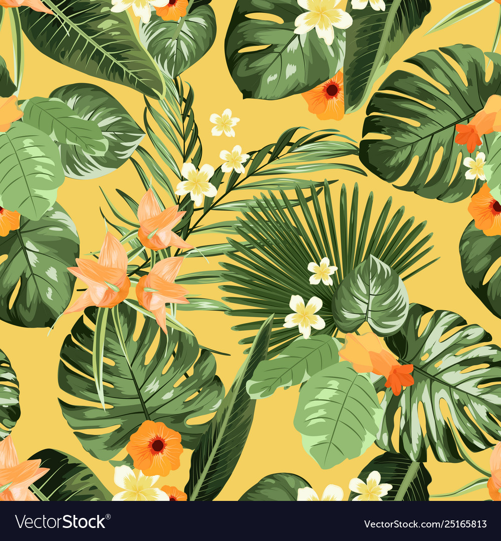 Exotic tropical pattern plumeria flowers monstera