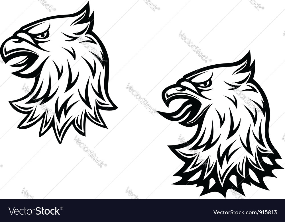 Heraldic eagle head vector image