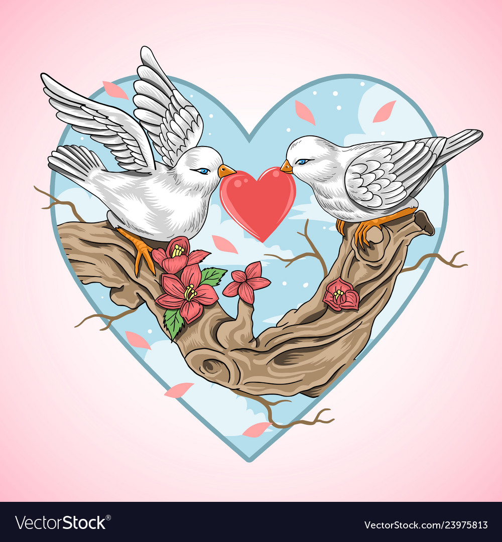 Love bird valentine heart