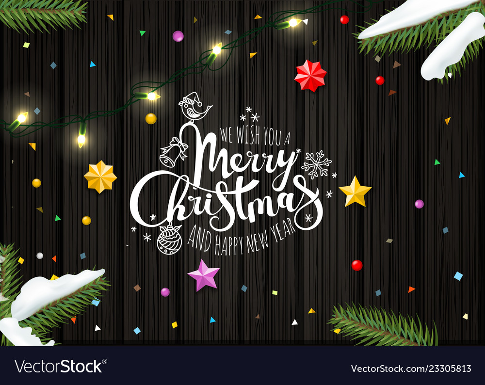 Merry christmas wishing card template top view