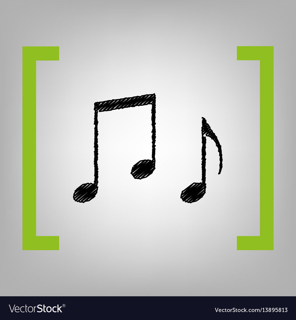 music notes sign black scribble icon in royalty free vector