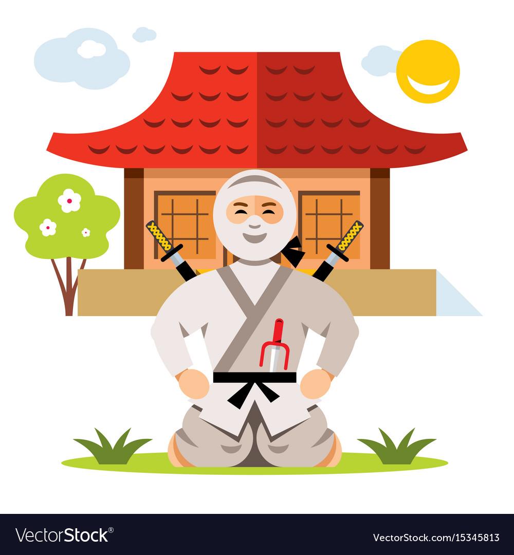 Ninja and dojo flat style colorful cartoon