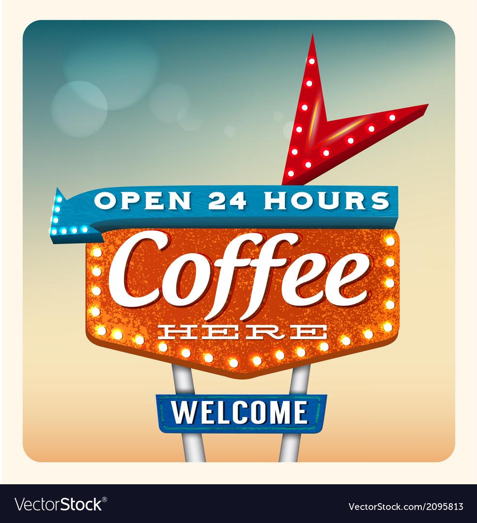 Retro Neon Sign Coffee vector image